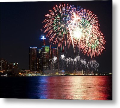 Fireworks Over Detroit Metal Print