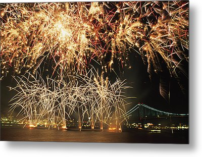 Fireworks Over Harbour Metal Print by Axiom Photographic