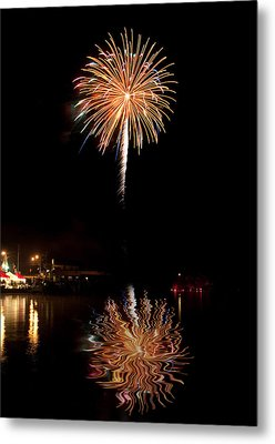 Metal Print featuring the photograph Fireworks Over Lake by Cindy Haggerty