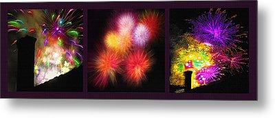 Fireworks Triptych Metal Print by Steve Ohlsen