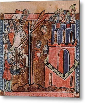 First Crusade Germ Warfare Siege Metal Print by Photo Researchers