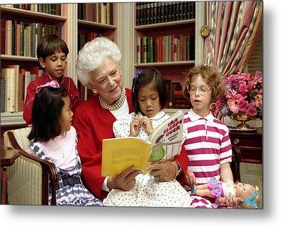 First Lady Barbara Bush Reads Metal Print by Everett