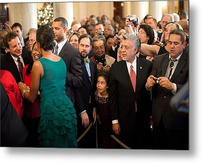 First Lady Michelle Obama Greets Guests Metal Print by Everett