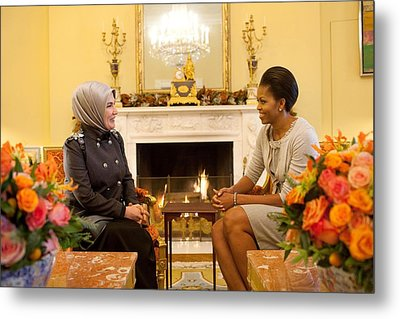 First Lady Michelle Obama Meets Metal Print by Everett