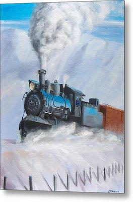 First Train Through Metal Print