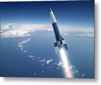 First V-2 Rocket Launch, Artwork Metal Print by Detlev Van Ravenswaay