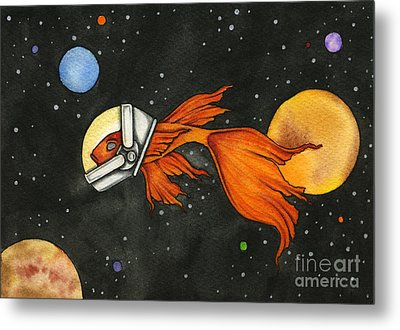 Fish In Space Metal Print by Nora Blansett