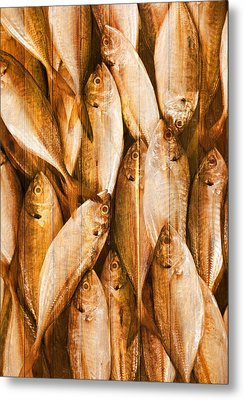 Fish Pattern On Wood Metal Print by Setsiri Silapasuwanchai