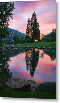 Fish Pond At Sunset I Metal Print by Steven Ainsworth
