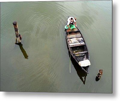 Fisherman And His Boat Metal Print by Pallab Seth