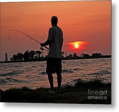 Metal Print featuring the photograph Fisherman And Lighthouse Sunset by Luana K Perez