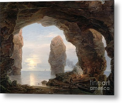 Fisherman In A Grotto Helgoland Metal Print by Christian Ernst Bernhard Morgenstern