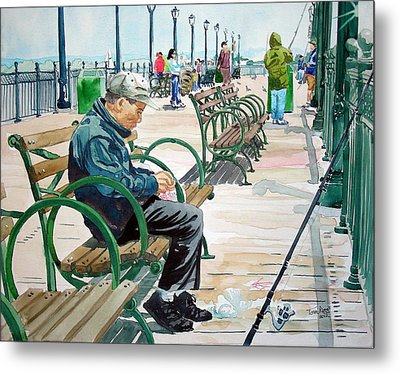 Metal Print featuring the painting Fisherman San Francisco by Tom Riggs