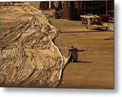 Fisherman Sewing Net Metal Print