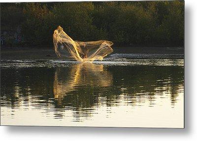 Metal Print featuring the digital art Fisherman Throwing His Net by Anne Mott