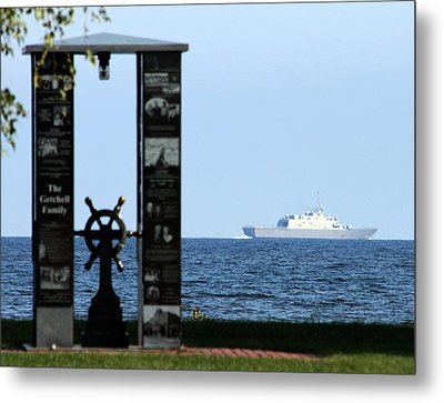 Metal Print featuring the photograph Fishermans' Memorial At Red Arrow Park And Lcs3 Uss Fort Worth by Mark J Seefeldt