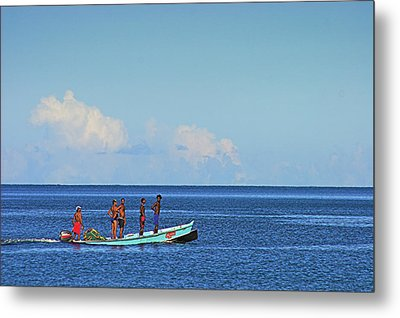Metal Print featuring the photograph Fishermen And Canoe- St Lucia by Chester Williams