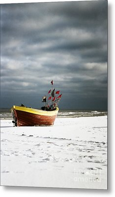 Metal Print featuring the photograph Fishermen's Boat On Snowy Beach by Agnieszka Kubica