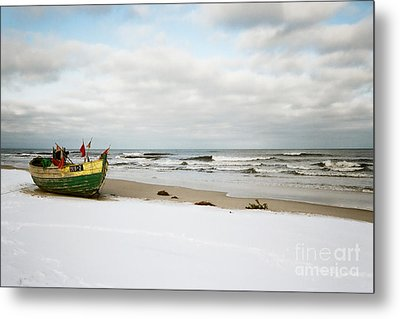 Metal Print featuring the photograph Fishermen's Boat Waiting On A Beach by Agnieszka Kubica