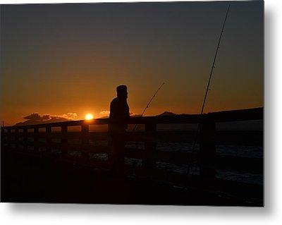 Fishing And Sunset  Metal Print by Saifon Anaya