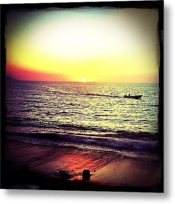 Fishing At Sunset (puerto Vallarta) Metal Print by Natasha Marco