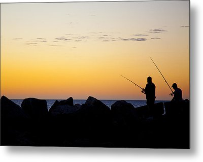 Metal Print featuring the photograph Fishing At Sunset by Serene Maisey