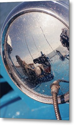 Fishing Boat Reflection Metal Print