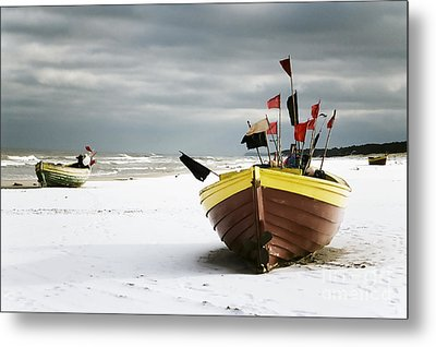 Fishing Boats At Snowy Beach Metal Print by Agnieszka Kubica