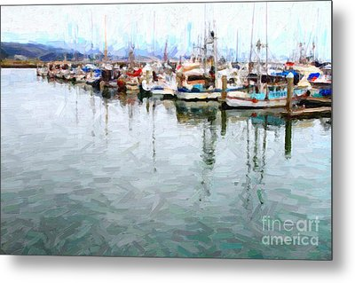 Fishing Boats At The Dock . 7d8187 Metal Print by Wingsdomain Art and Photography