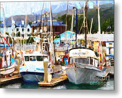 Fishing Boats At The Dock . 7d8213 Metal Print by Wingsdomain Art and Photography