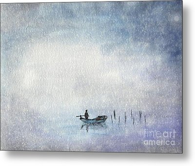 Fishing By Moonlight Metal Print