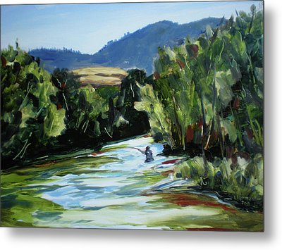 Fishing On The Boise Metal Print by Les Herman