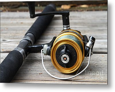 Fishing Rod And Reel . 7d13547 Metal Print by Wingsdomain Art and Photography