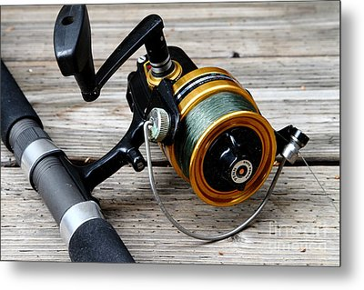 Fishing Rod And Reel . 7d13549 Metal Print by Wingsdomain Art and Photography