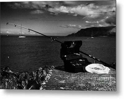 Fishing Tackle Box Filled With Sea Fishing Gear Rod And Bait On The County Antrim Coast Metal Print by Joe Fox