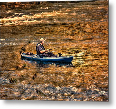 Fishing The Golden Hour Metal Print by Steven Richardson