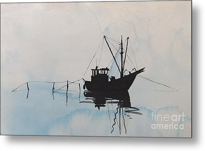 Fishingboat In Foggy Weather Metal Print by Annemeet Hasidi- van der Leij