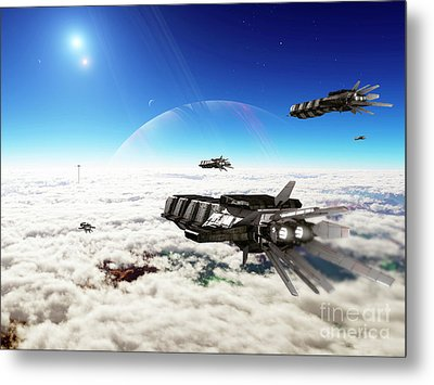 Five Medium Freighters Deccelerate Metal Print by Brian Christensen