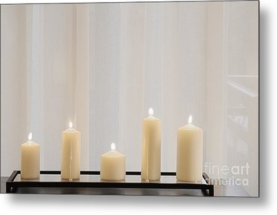 Five White Lit Candles Metal Print by Andersen Ross