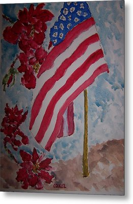 Flag And Roses Metal Print by James Cox