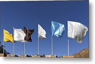 Flags Fluttering Against Blue Sky Metal Print by Kantilal Patel