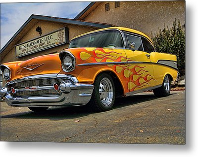 Flamed 57 Chevy Metal Print by Fred Wilson