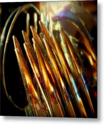 Flames Of Bronze Metal Print by Karen Wiles