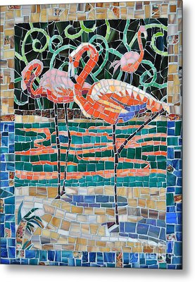 Flaming Flamingos Metal Print