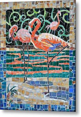 Flaming Flamingos Metal Print by Li Newton