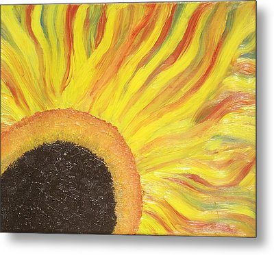 Metal Print featuring the painting Flaming Sunflower by Margaret Harmon