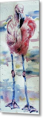 Flamingo Mist Metal Print