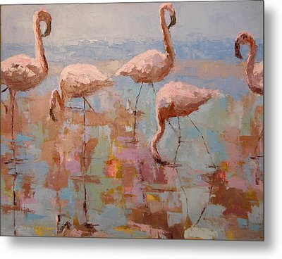 Flamingoes Metal Print