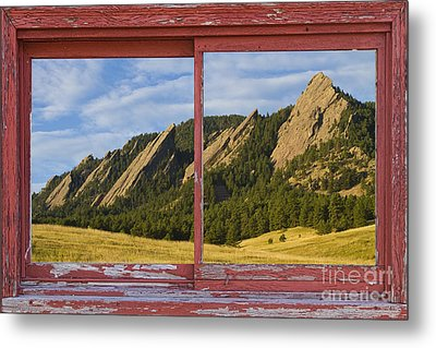 Flatirons Boulder Colorado Red Barn Picture Window Frame Photos  Metal Print by James BO  Insogna