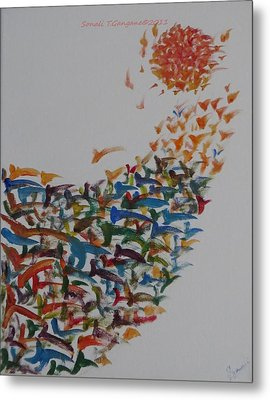 Metal Print featuring the painting Fleet Of Birds by Sonali Gangane